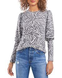 1.STATE Puff Sleeve Printed Sweatshirt - Multicolour