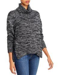 Aqua Metallic Marled Turtleneck Sweater - Gray