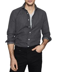 Reiss Knight Denim Shirt - Gray
