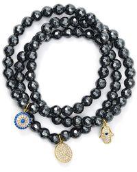Aqua Beaded Bracelets In Gold Tone - Plated Sterling Silver And Hematite Tone - Plated Sterling Silver - Black