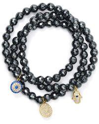 Aqua - Beaded Bracelets In Gold Tone-plated Sterling Silver And Hematite Tone-plated Sterling Silver - Lyst