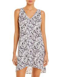 J Valdi Abstract Print Button Tank Mini Dress - White