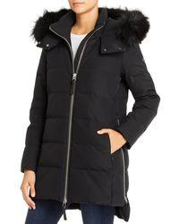 10 Crosby Derek Lam Mid Fox Fur Trim Down Coat - Black