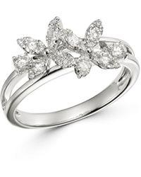 Bloomingdale's Diamond Flower Ring In 14k White Gold