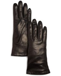 Bloomingdale's Cashmere Lined Leather Gloves - Black