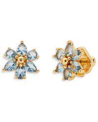 Kate Spade First Bloom Cubic Zirconia Flower Stud Earrings In 14k Gold Plate - Blue
