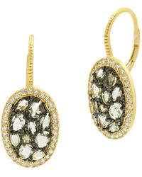 Freida Rothman - Rose D'or Pavé Cluster Drop Earrings - Lyst