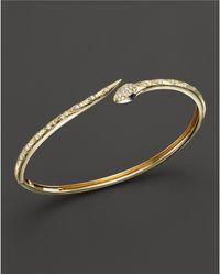 Bloomingdale's - Black And White Diamond Snake Bracelet In 14k Yellow Gold - Lyst