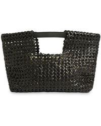 AllSaints Liyu Woven Leather Clutch - Black