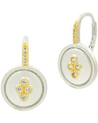 Freida Rothman Fleur Bloom Small Clover Earrings In 14k Gold - Plated & Rhodium - Plated Sterling Silver - Metallic