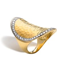 John Hardy Palu 18k Gold & Diamond Pavé Oval Saddle Ring - Metallic
