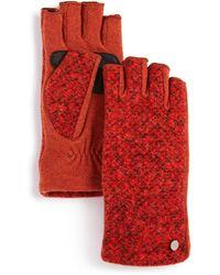Echo Bouclé Fingerless Gloves - Red