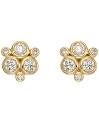 Temple St. Clair 18k Yellow Gold Classic Trio Earrings With Diamonds - Metallic