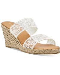 Andre Assous Anja Decorated Double Strap Espadrille Wedge Sandals - White