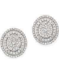 Bloomingdale's - Diamond Cluster Stud Earrings In 14k White Gold, 1.50 Ct. T.w. - Lyst
