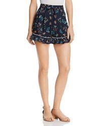 The Fifth Label Skyward Ruffled Hem Floral-print Mini Shorts - Blue