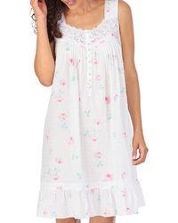Eileen West Floral Print Swiss - Dot Cotton Nightgown - Multicolour