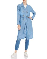 Billy T Chambray Trench Coat - Blue