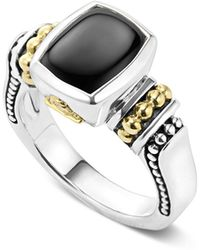Lagos - 18k Gold And Sterling Silver Caviar Colour Small Onyx Small Ring - Lyst
