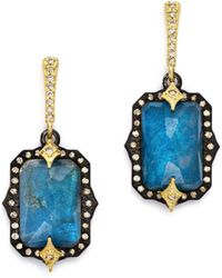 Armenta - 18k Yellow Gold & Blackened Sterling Silver Emerald-cut Labradorite Triplet & Champagne Diamond Drop Earrings - Lyst