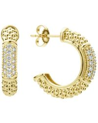 Lagos 18k Yellow Gold Caviar Gold Pavé Diamond Hoop Earrings - Metallic