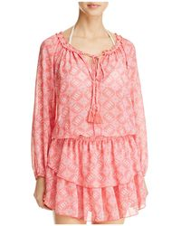 Macbeth Collection - Floral Print Dress Swim Cover-up - Lyst
