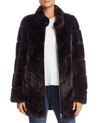 Maximilian Rabbit Fur Coat - Multicolor