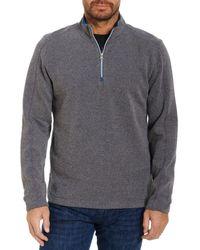 Robert Graham Lindell Cotton Blend Classic Fit Quarter Zip Mock Neck Sweatshirt - Blue