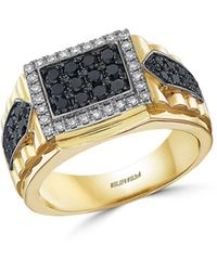 Bloomingdale's Men's Black & White Diamond Ring In 14k White & Yellow Gold - Metallic