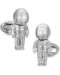 Jan Leslie Sterling Silver & Mother - Of - Pearl Astronaut Cufflinks - Metallic