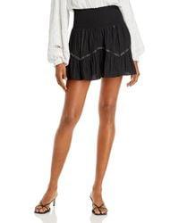 Ramy Brook Cora Metallic Stripe Mini Skirt - Black