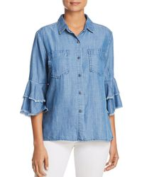 Billy T - Tiered Bell Sleeve Chambray Shirt - Lyst