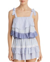 Surf Gypsy Striped Combo Ruffle Tank Top Swim Cover - Up - Blue