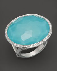 Ippolita - Sterling Silver Stella Large Lollipop Ring In Turquoise Doublet With Diamonds - Lyst