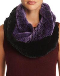 Maximilian Knit Rabbit Fur Infinity Scarf - Purple