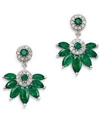Bloomingdale's Emerald Marquis & Diamond Fan Drop Earrings In 14k White Gold - Multicolour