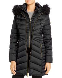 Laundry by Shelli Segal Hooded Faux Fur Trim Puffer Coat - Black