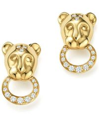 Temple St. Clair - 18k Yellow Gold Lion Cub Pavé Diamond Earrings - Lyst