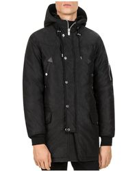 The Kooples - Mixed Fabric Parka - Lyst