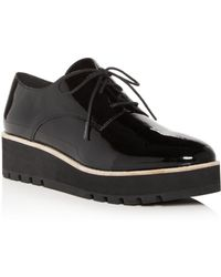 Eileen Fisher Women's Eddy Patent Leather Plain Toe Platform Loafers - Black
