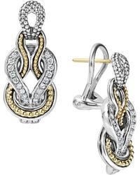 Lagos - Sterling Silver And 18k Gold Newport Diamond Earrings - Lyst