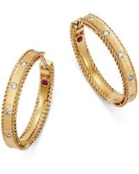 Roberto Coin 18k Yellow Gold Diamond Princess Diamond Hoop Earrings - Metallic