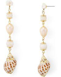 Aqua Shell Drop Earrings - Multicolour