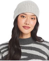 C By Bloomingdale's Ribbed Knit Cuff Cashmere Hat - Brown