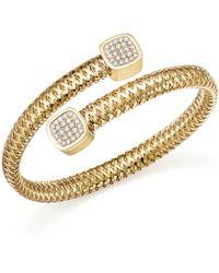 Roberto Coin - 18k Yellow Gold Primavera Diamond Capped Bangle - Lyst