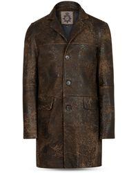 John Varvatos Regular Fit Sheepskin Coat - Brown