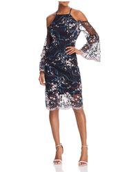 Nanette Nanette Lepore - Cold-shoulder Embroidered Sheath Dress - Lyst