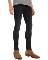 The Kooples - Leather - Trimmed Skinny Jeans In Black Wash - Lyst