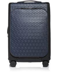 Ferragamo Gancini 4-wheeled Carry-on Luggage In Calfskin - Blue