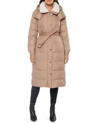 Kate Spade Hooded Belted Puffer Coat - Natural